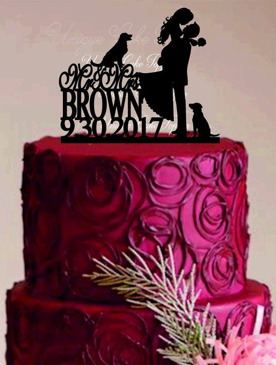 Mr And Mrs Wedding Cake Topper Couple Silhouette Wedding Cake