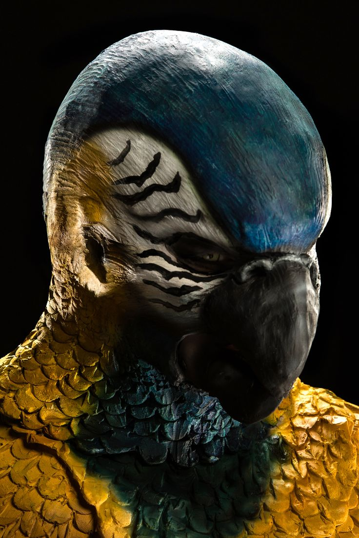 Face Off S5Ep12 – Flights of Fantasy Challenge: Create a bird/human hybrid Roy - Blue Throated Macaw Close up