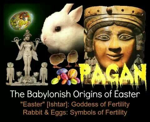 There's no story in the Bible about a long-eared, cotton-tailed creature known as the Easter Bunny... And real rabbits certainly don't lay eggs. According to University of Florida's Center for Children's Literature and Culture, the origin of the celebration, and the Easter bunny, can be traced back to 13th C. pre-Christian Germany, people worshiped gods/goddesses.' Pagan Holiday not Christian