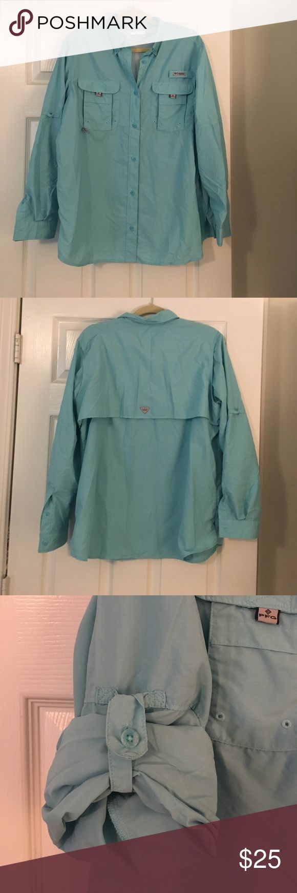 Columbia fishing shirt Cute blue Columbia fishing shirt, perfect for outdoor summer activities Columbia Tops