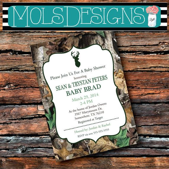 PINK or GREEN Boy or Girl Modern Camo Camouflage Buck Boy Baby Shower Graduation Party InvitatioN on Etsy, $15.00