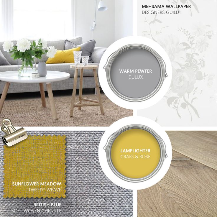Monday Moodboard - A burst of sunshine yellow adds colour and warmth to a cool Scandi interior. Add extra texture with blonde wood and this subtle wallpaper from Designers Guild... #theloungeco #moodboard #interiormoodboard #paintswatches #wallpaper #interiordesign #lounge #loungedecor #livingroomdecor #scandi #greyandyellow #freshinterior #interiorinspiration