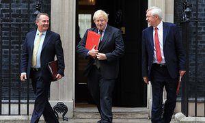 Full of Brexit Parody - Left to right) international trade secretary Liam Fox, foreign secretary Boris Johnson and Brexit secretary David Davis.