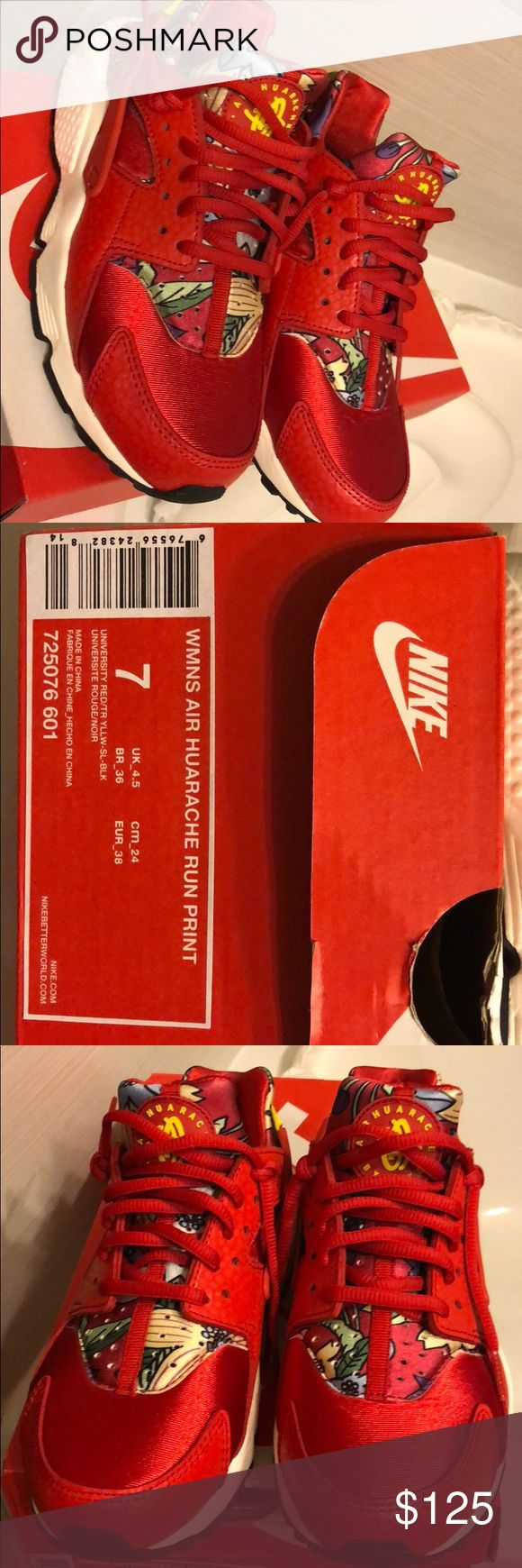 RARE Nike Huarache Run Print Red & floral print huarache - this sneaker runs small by 1/2 to whole size. Have not been worn outside, comes with original box. Nike Shoes Sneakers