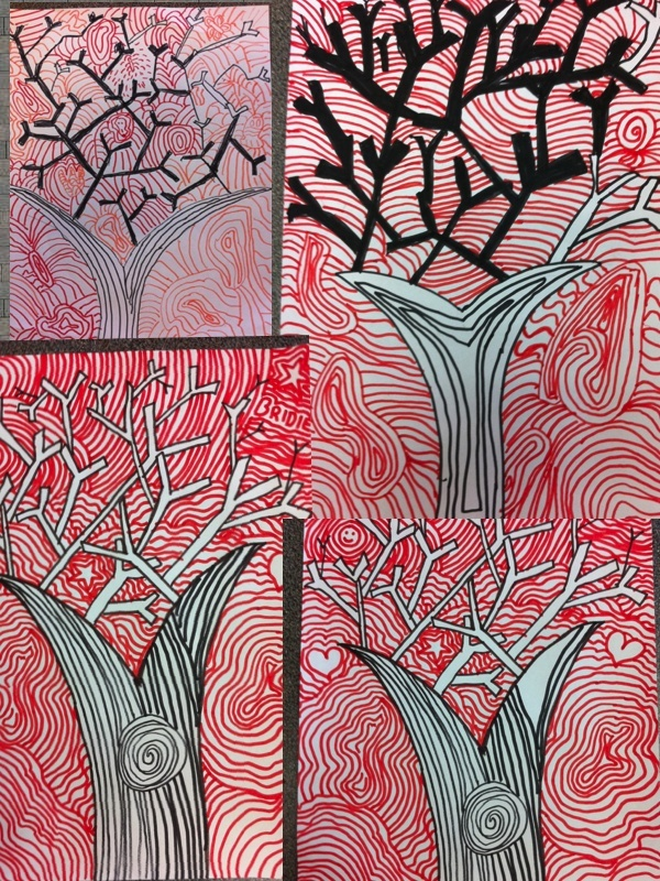 Art- teaching the power of line. Bushfire inspired these works.