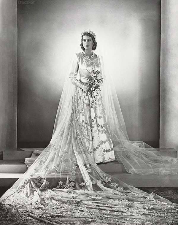 Princess Elizabeth on her wedding day to Prince Philip of Greece