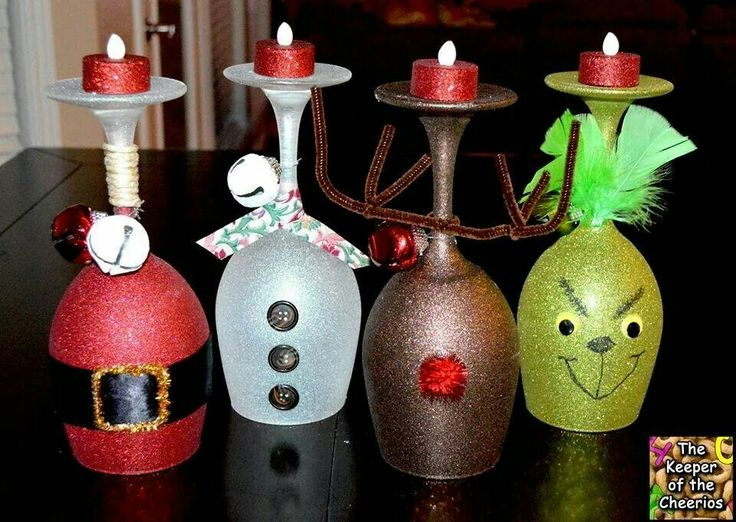 Cute idea! Cheap wine glasses blasted with glitter spray paint.