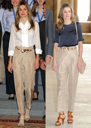 Letizia Ortiz le gusta llevar pantalón de talle alto. La vimos con este beige en julio de 2010 y justo un año después lo repitió en un acto cultural
