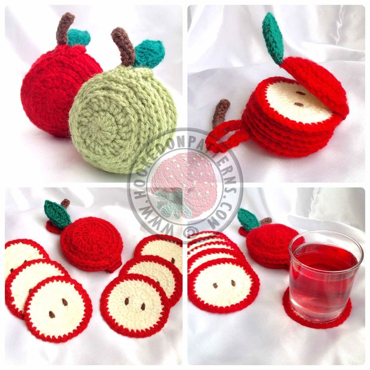 Ravelry: Sliced Apple Coaster Set by Ling Ryan