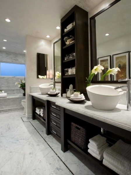 White and Dark Wood Bathroom… especially like the sinks and fixtures for them