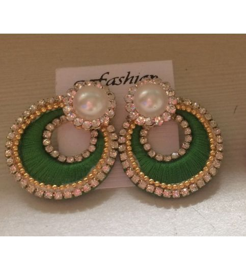 Buy Silk Thread Chandbali Earrings at 34% off Online India at Kraftly - SITHCH33931EVK103048