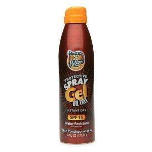 Ocean Potion Suncare Protective Spray Gel SPF 15 6 fl oz (177 ml) by Ocean Potion. $7.59. Protective Spray Gel SPF 15Water & Sweat ResistantInstant Dry. 360° Continuous SprayHelps Prevent Sunburn. Higher SPF offers more sunburn protection. Ocean Potion® Protective Spray Gel SPF-15 provides moderate sunscreen protection without rubbing onto skin. The Oil-Free instant drying formula is ideal for all outdoor activities. It allows slow tanning while helping prevent sunb...