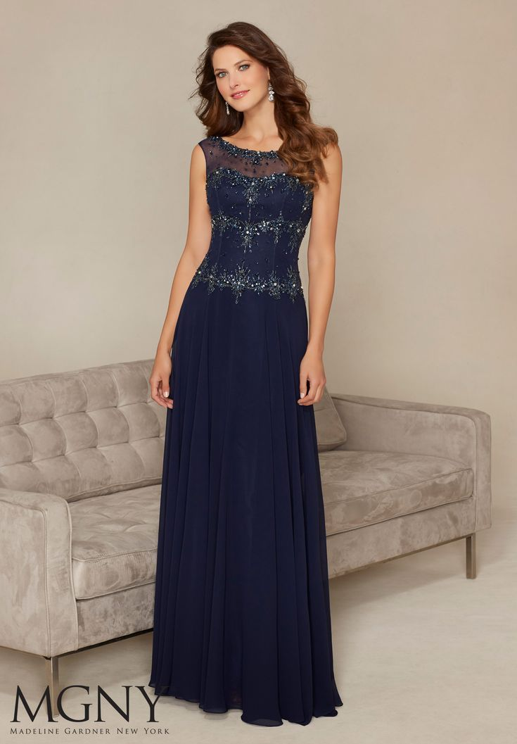 Evening Gowns and Mother of the Bride Dresses by Morilee. Beaded Embroidery on Chiffon Evening Gown