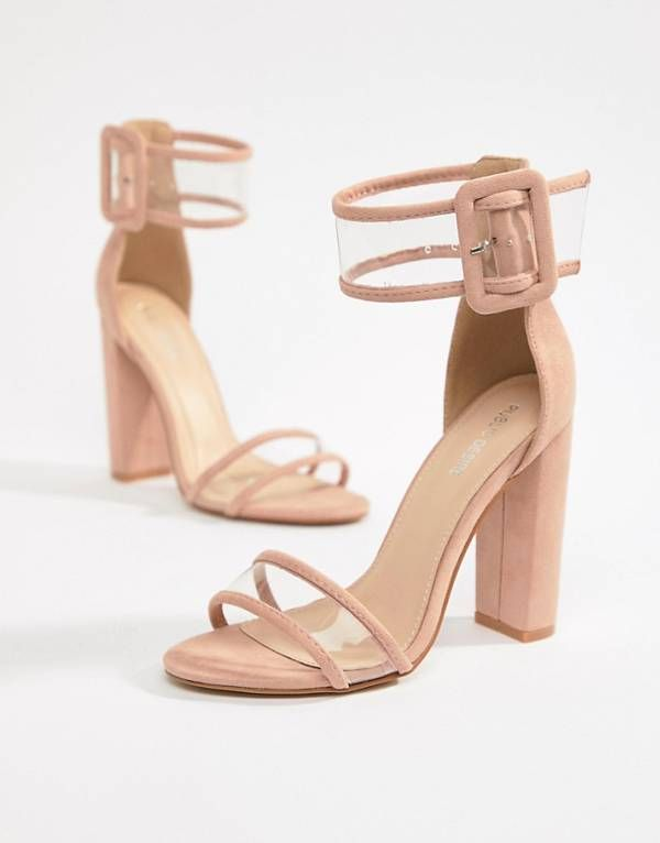 175ae5b087e Public Desire Mission Dusty Pink Clear Strap Block Heeled Sandals ...