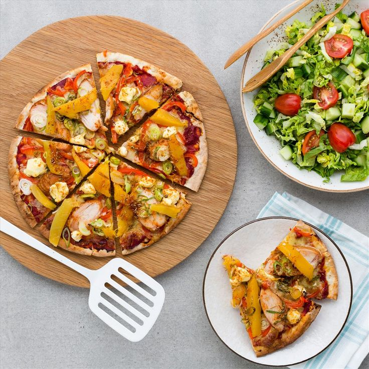 Smoked Chicken, Mango and Cream Cheese Pizzas with Salad