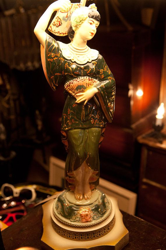 Antique Asian Figure Lamp Woman Porcelain Hollywood By