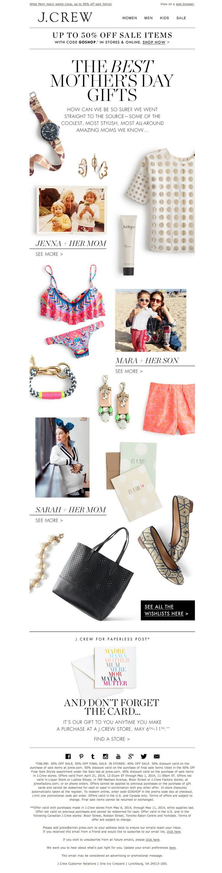 #newsletter #mothersday J.Crew 04.2014 It's almost Mother's Day www.datemailman.com