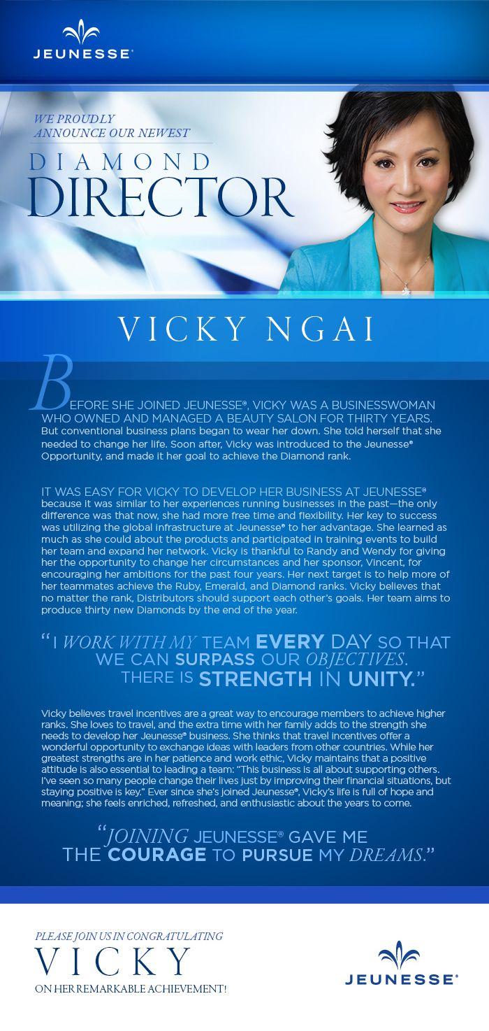"""주네스 새로운 다이아몬드 탄생 - Vicky Ngai : 30년간 미용실을 운영하다가 주네스 사업 시작 4년만에 다이아몬드로 승급. 올해 말까지 30명의 다이아몬드를 육성시키는 목표를 가지고 있다.. """" 매일 팀과 함께 목표달성하려고 노력합니다. 혼자노력하는 것보다 큰 시너지효과를 꾀할 수 있기 때문입니다.-Vicky"""" #jeunesse #jeunesseglobal #supportgroup #diamond #vicky"""