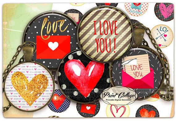 Cabochon images Digital Collage Sheet  Love   1.5 by PrintCollage