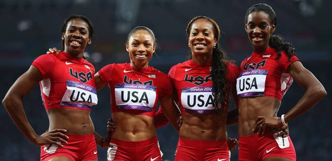Francena McCorory, Allyson Felix, Sanya Richards-Ross, DeeDee Trotter have plenty to smile about.