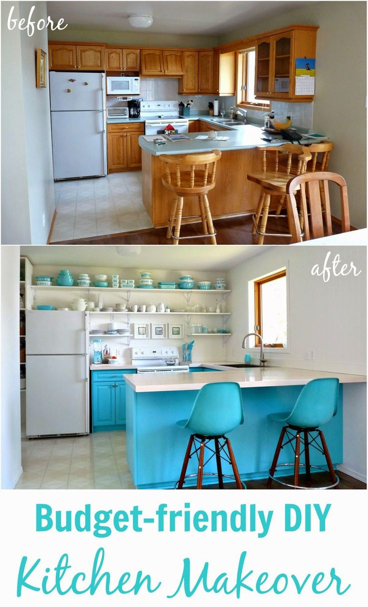 Before and After : The Big Kitchen Reveal! {teal and white kitchen with open shelves}