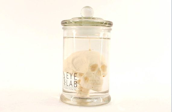 skull in jar candle