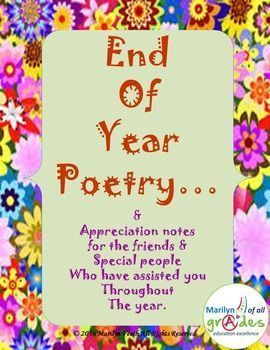 End of Year Poetry by Marilyn of all grades | Teachers Pay Teachers
