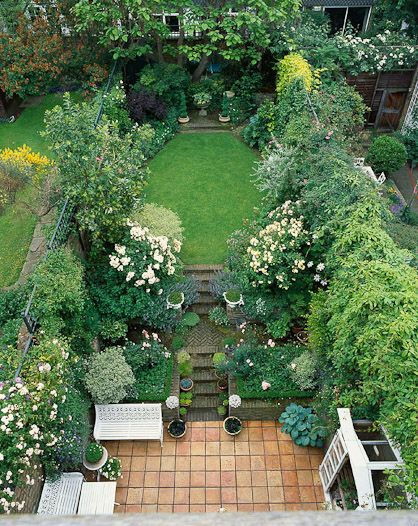 beautiful gardens dont have to be big by clive nichols brick patio - Garden Design Long Narrow