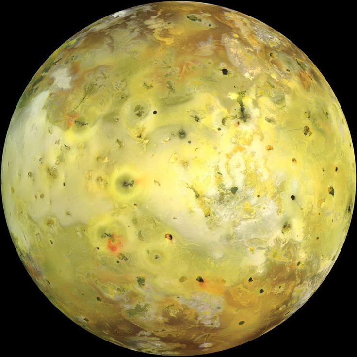 Oct 2010 Io in True Color Credit: Galileo Project, JPL, NASA  The strangest moon in the Solar System is bright yellow. Io's colors derive from sulfur and molten silicate rock. The unusual surface of Io is kept very young by its system of active volcanoes. The intense tidal gravity of Jupiter stretches Io and damps wobbles caused by Jupiter's other Galilean moons. The resulting friction greatly heats Io's interior, causing molten rock to explode through the surface.