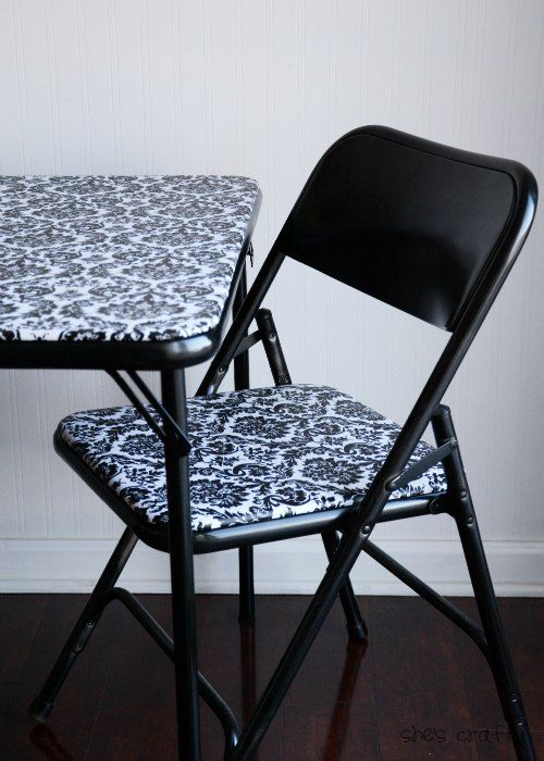 She's crafty: Folding table and chairs- makeover