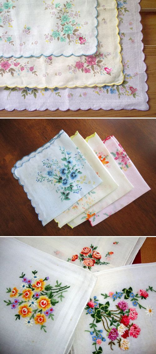 vintage floral handkerchiefs for wedding favors | via junebugweddings.com