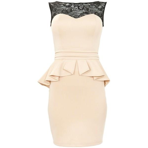 Chi Chi Stone Contrast Lace Sleeveless Peplum Dress ($73) found on Polyvore