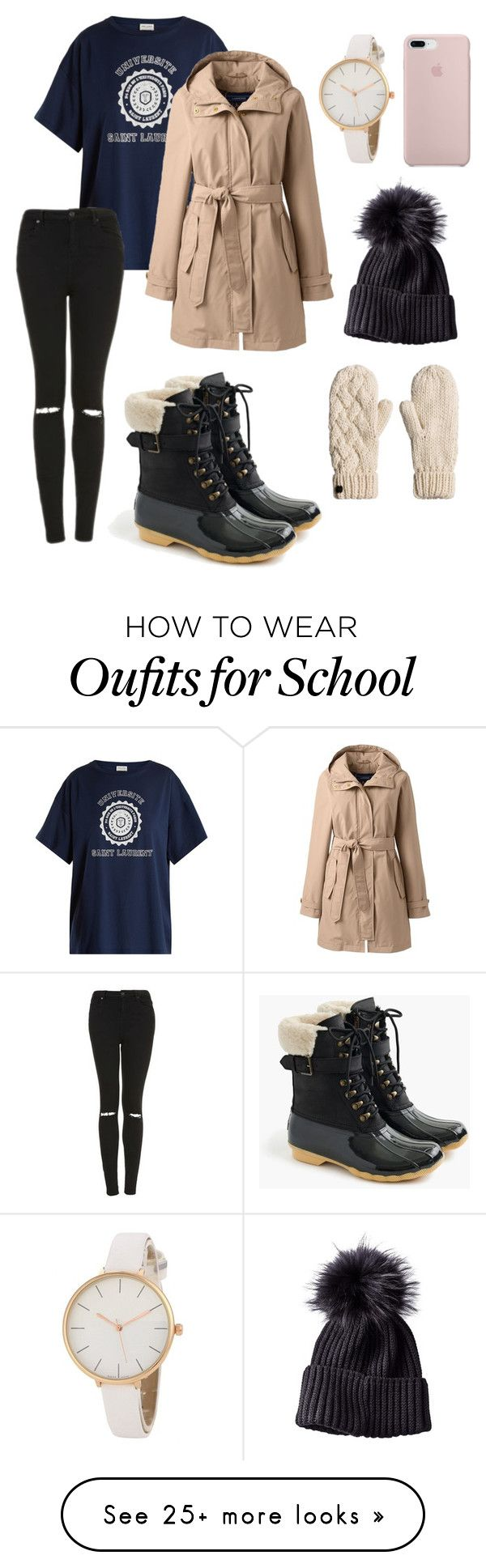 """No school tomorrow ❄️"" by anna-beth224 on Polyvore featuring Yves Saint Laurent, Lands' End, Topshop, Sperry and plus size clothing"