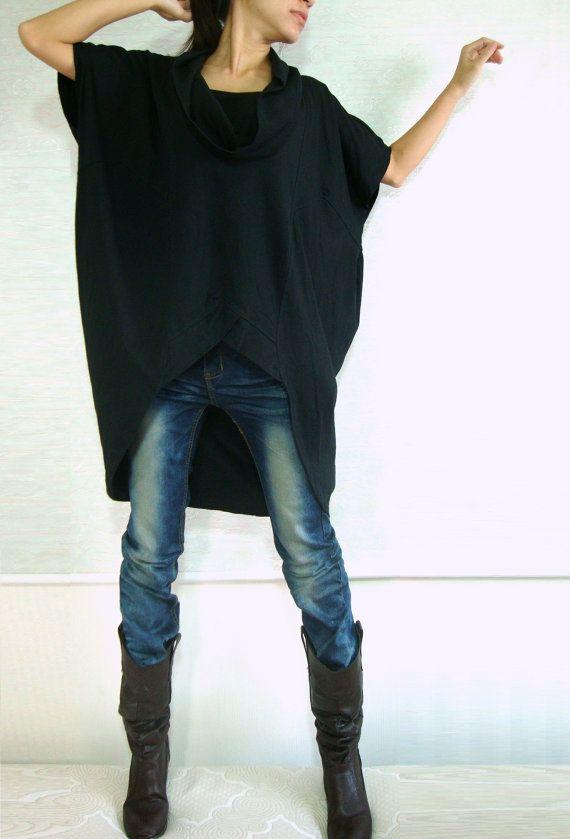 Women Black Cotton Asymmetrical Oversized T-Shirt Tunic Dress Plus Size Top