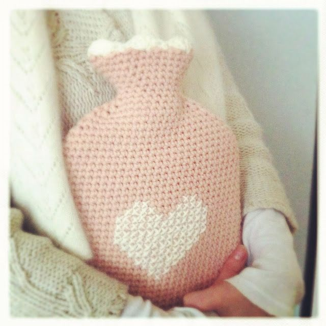 crochet and cross stitched hot water bottle cover - love this idea!