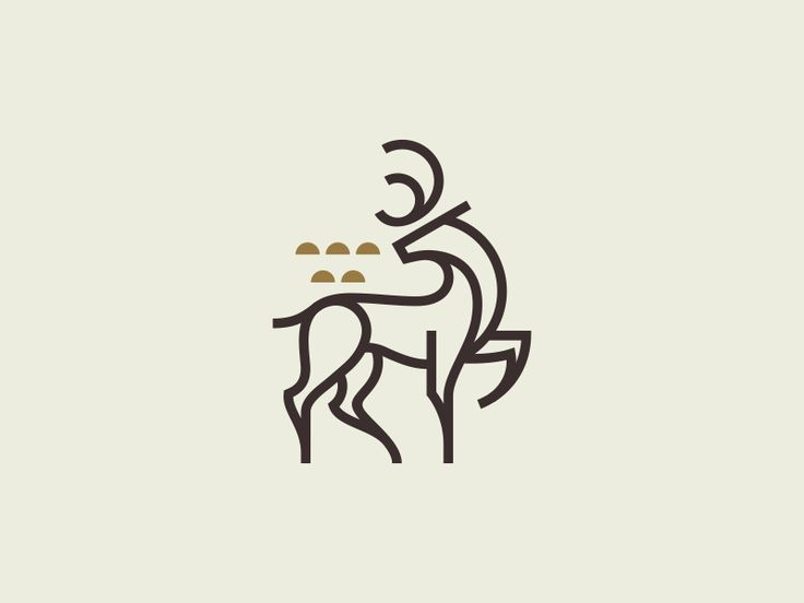 Fallow Deer Mark Branding design logo, Line illustration