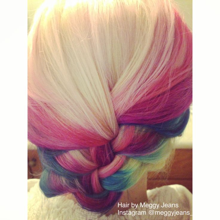 Bright and bold updo. pink, purple, blue and blonde, LOVE how this colour turned out !   Instagram @meggyjeans_ Twitter @Meggy Jeans   #hairbymeggyjeans #pink #blonde #blue #purple #Pink