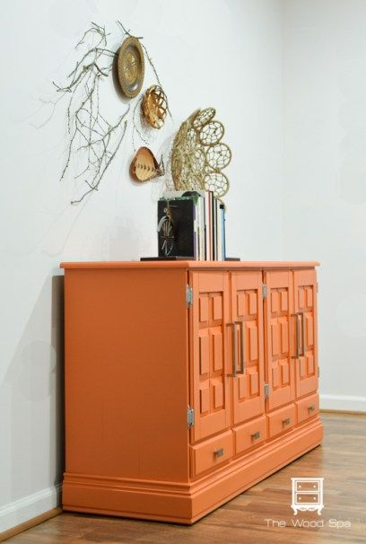 Orange buffet makeover using Fusion Mineral Paint's shade of Tuscan Orange!