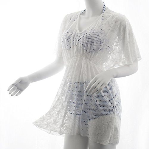 Zodaca Summer Womens Lace Oversized Beach Wear Cover Up See Through Swimwear Beachwear Bikini, White Lace. Floats weightlessly over your skin and gives you no extra burden. Feminine lace design. Color: White. Material: 100% Rayon. Length: 75 cm/ 29.5 inches. One size fits all. Half sleeves. Slips on over head. Add a little more style to your swimsuit when you are relaxing on the beach.