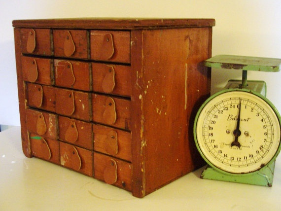 Vintage 15 Drawer Wooden Cabinet / Leather Pulls / by 40sZen. , via Etsy.