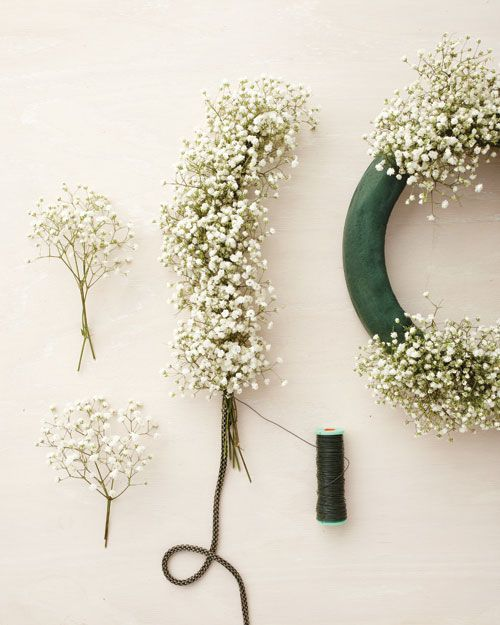 Learn how to make a beautiful baby's breath wreath or garland
