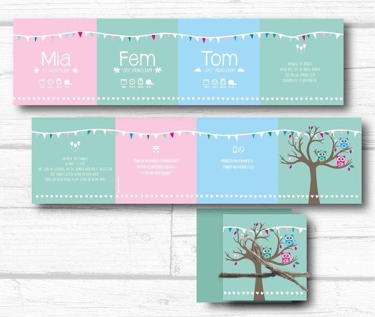 Het kaartje dat we maakten voor drieling, Mia, Fem en Tom. #slingers #drieling #harmonicakaart #aagjeontwerp