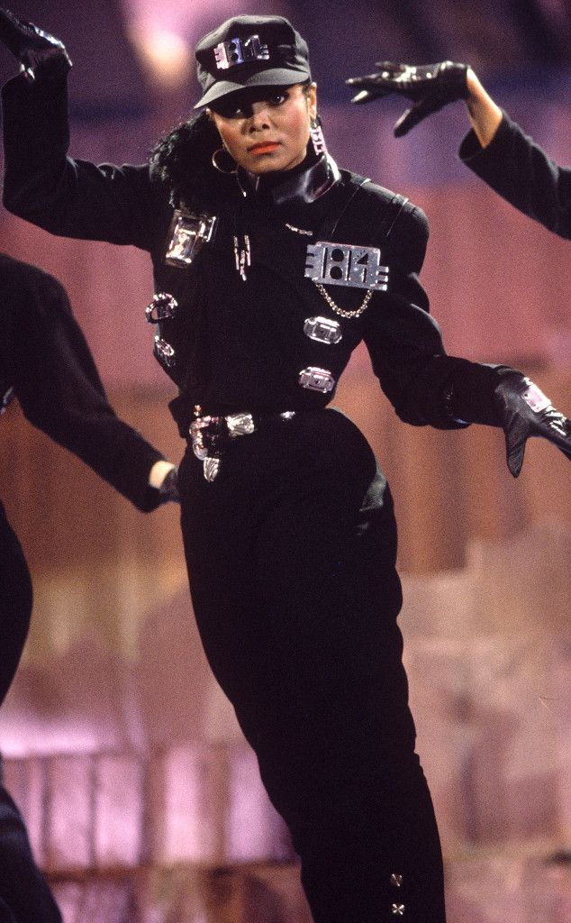 Bust a Move from Janet Jackson's Best Looks From Red Carpet to Concerts  Throwback! The singer sports a black jumpsuit at the 1989 Diamond Pop Awards in Antwerp, Belgium.