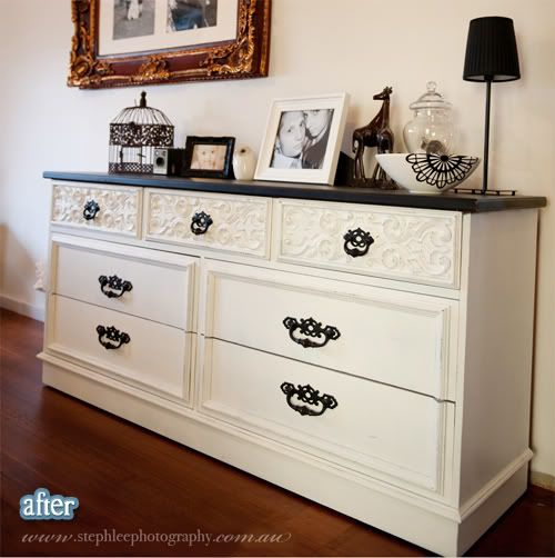 This website is AMAZING. It shows all these before and after pictures and makes me want to redo all my furniture! *I would LOVE to have this dresser in the master bedroom or the nursery. It would look precious in a girls nursery!! Double-pin.