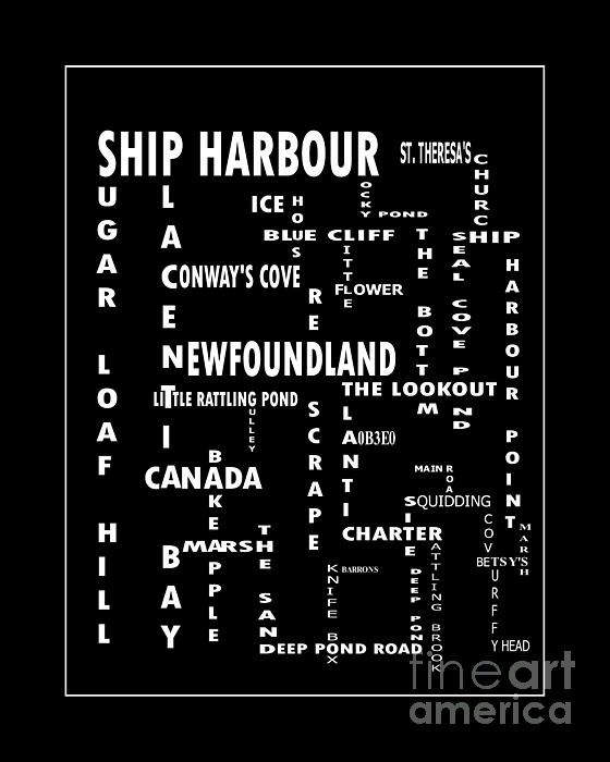 Ship Harbour Newfoundland Landmarks Crossword Art by Barbara Griffin - Ship Harbour Newfoundland Landmarks Crossword Art Digital Art - Ship Harbour Newfoundland Landmarks Crossword Art Fine Art Prints and Posters for Sale