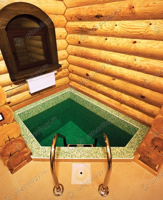 Бассейн-купальня в бане - Pool-swimming in the sauna