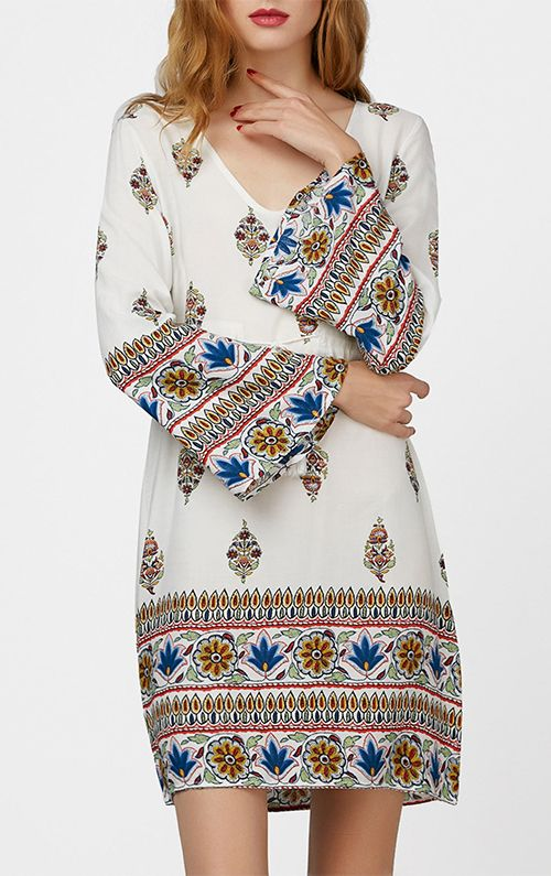 Drawstring Flare Sleeve Print Dress with Tassel
