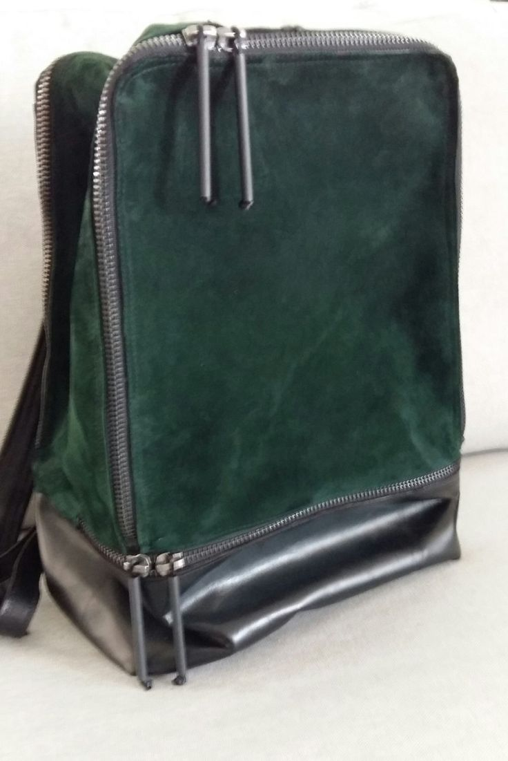 Green suede leather backpack,Green Leather Rucksack, weekend backpack, elegant backpack for men and women by UJaneBags on Etsy