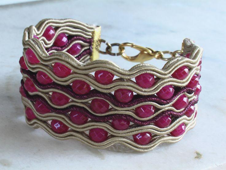 Braccialetto a fascia soutache e cristalli Soutache bracelet