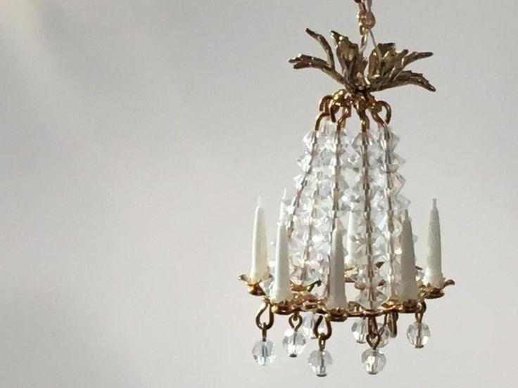 Dollhouse Miniature Phyllis Tucker 8 Light Swarovski Crystal Chandelier 1 12